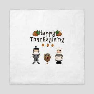 Happy Thanksgiving Pilgrims and Turkey Queen Duvet