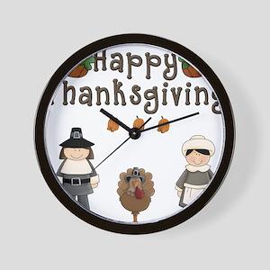Happy Thanksgiving Pilgrims and Turkey Wall Clock