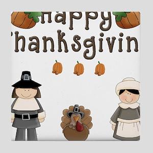 Happy Thanksgiving Pilgrims and Turkey Tile Coaste