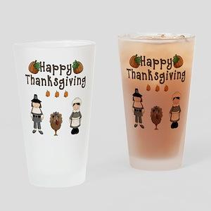 Happy Thanksgiving Pilgrims and Turkey Drinking Gl