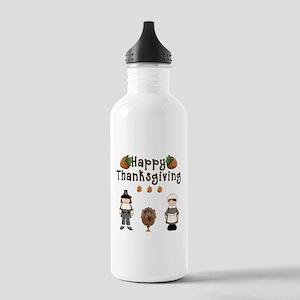 Happy Thanksgiving Pilgrims and Turkey Water Bottl