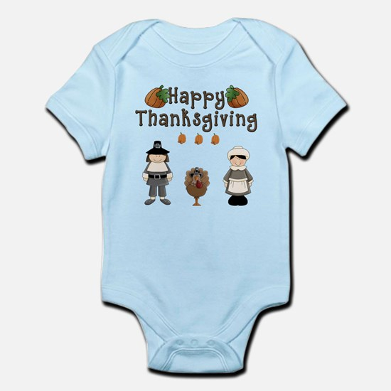 Happy Thanksgiving Pilgrims and Turkey Body Suit