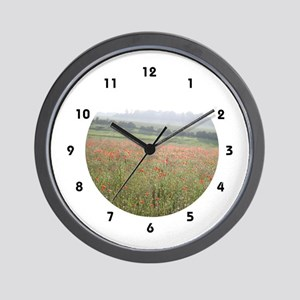 Poppies In Evening Mist Wall Clock