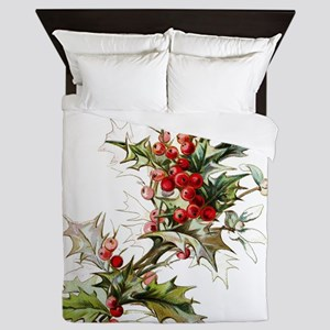 Holly and berries Queen Duvet