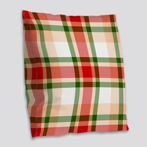 Christmas Plaid Burlap Throw Pillow