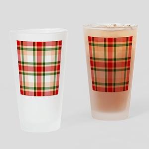 Christmas Plaid Drinking Glass