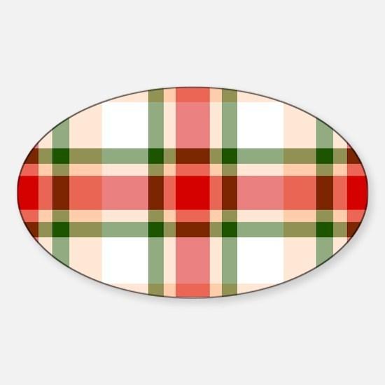 Christmas Plaid Sticker (Oval)