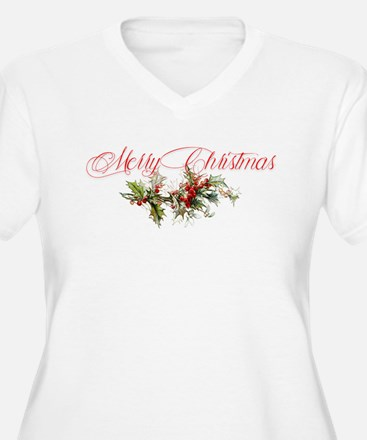 Merry Christmas Holly and berrie Plus Size T-Shirt