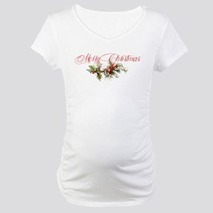 Merry Christmas Holly and berrie Maternity T-Shirt
