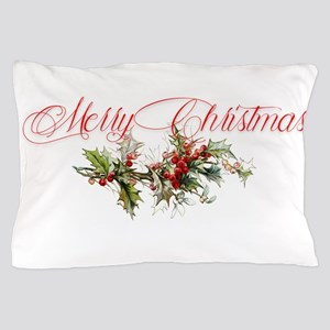 Merry Christmas Holly and berries Pillow Case