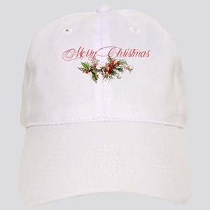 Merry Christmas Holly and berries Cap
