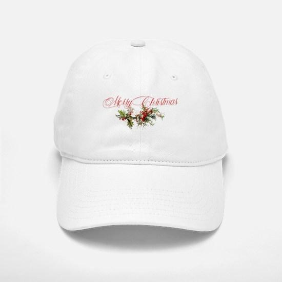 Merry Christmas Holly and berries Baseball Baseball Cap