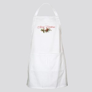 Merry Christmas Holly and berries Apron