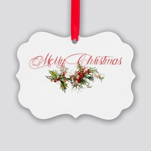 Merry Christmas Holly and berries Picture Ornament