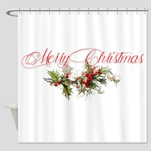 Merry Christmas Holly and berries Shower Curtain