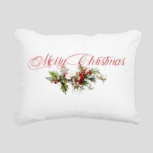 Merry Christmas Holly an Rectangular Canvas Pillow