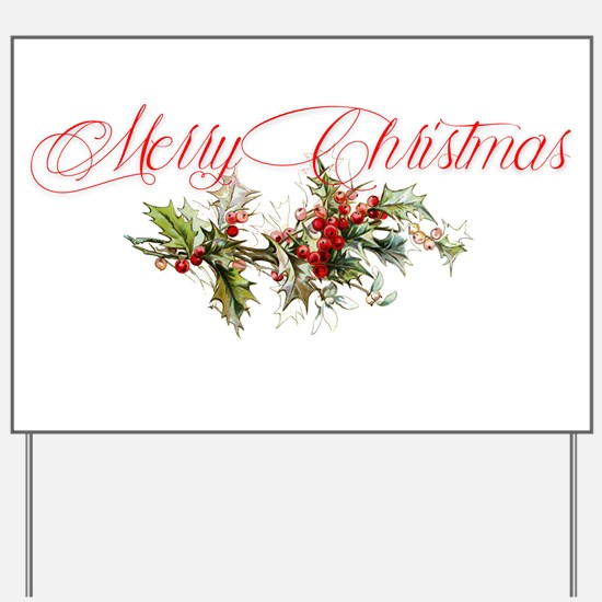 Merry Christmas Holly and berries Yard Sign