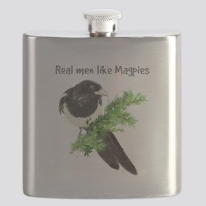 Real men like Magpies Humor Bird Quote Flask