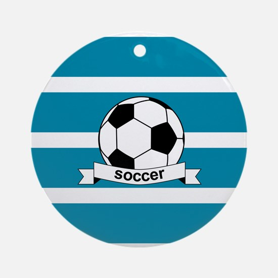 Soccer Ball and Banner Ornament (Round)
