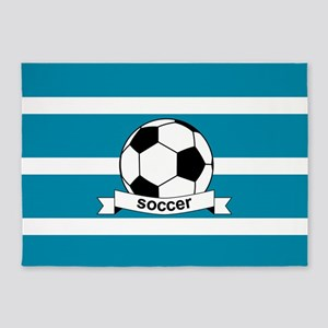 Soccer Ball and Banner 5'x7'Area Rug