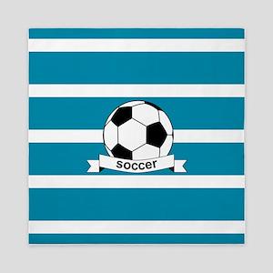Soccer Ball and Banner Queen Duvet