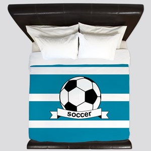 Soccer Ball and Banner King Duvet