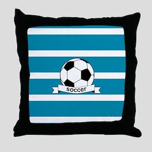 Soccer Ball and Banner Throw Pillow