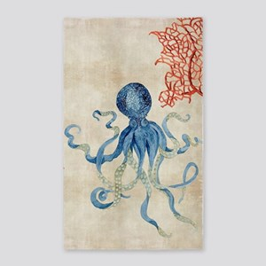 Indigo Ocean Coral Octopus n Red Co 3'x5' Area Rug