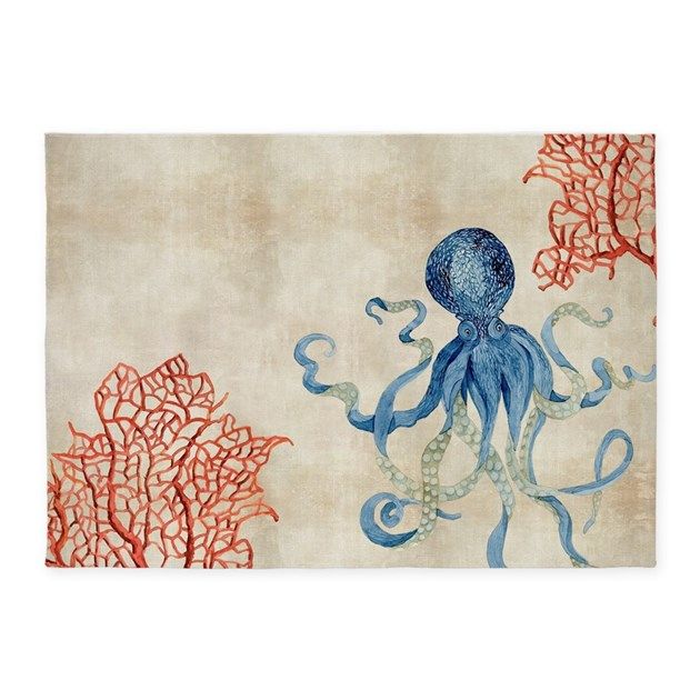 Indigo Ocean Coral Octopus N Red Co 5 X7 Area Rug By Admin
