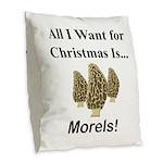 Christmas Morels Burlap Throw Pillow