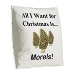 Christmas Morels Burlap Throw Pillow
