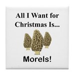 Christmas Morels Tile Coaster