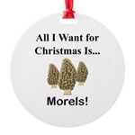 Christmas Morels Round Ornament