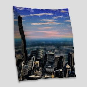 Chicago Sunset Burlap Throw Pillow