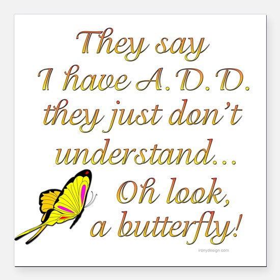 """ADD Butterfly Square Car Magnet 3"""" x 3"""""""