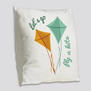 Lets Fly A Kite Burlap Throw Pillow
