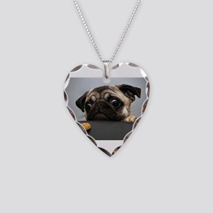 Pug Necklace Heart Charm