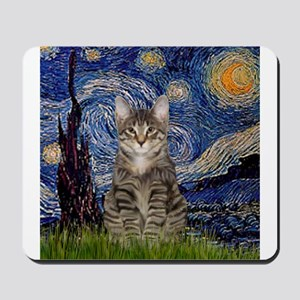 Starry Night & Tiger Cat Mousepad