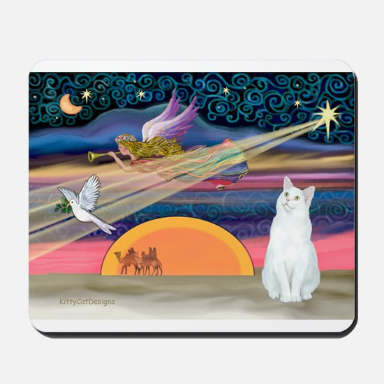 Xmas Star / White Cat Mousepad