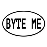 Byte Me Computer Joke Sticker (Oval 10 pk)
