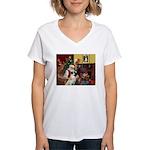 Santa/Anatolian Shep Women's V-Neck T-Shirt