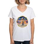 XmasStar/Cattle Dog Women's V-Neck T-Shirt