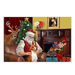 Santa's Basenji (#2) Postcards (Package of 8)
