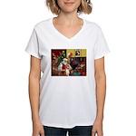 Santa's Basenji (#2) Women's V-Neck T-Shirt