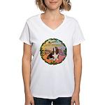 XmasMusic 2MC/Basset Women's V-Neck T-Shirt