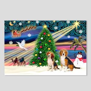 XmasMagic/2 Beagle Postcards (Package of 8)