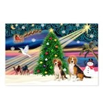 XmasMagic/2 Beagle Postcards (Package of 8)