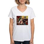 Santa's Beagle Women's V-Neck T-Shirt