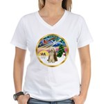 XmasMagic/Beardie #16 Women's V-Neck T-Shirt
