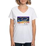 XmasSunrise/2 Bichons Women's V-Neck T-Shirt